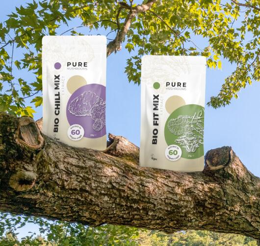 Duurzame verpakkingen Pure Mushrooms - paddenstoelsupplementen